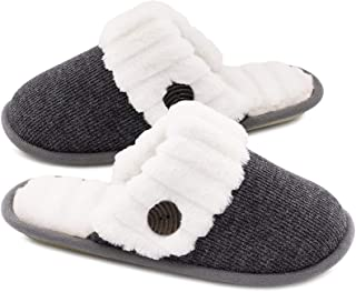 Sponsored Ad - HomeTop Women's Cute Comfy Fuzzy Knitted Memory Foam Slip On House Slippers Indoor
