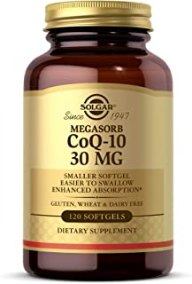 Solgar Megasorb CoQ-10 30 mg, 120 Softgels - Supports Heart Health, Brain Health & Energy Production - Coenzyme Q10 - Smal...