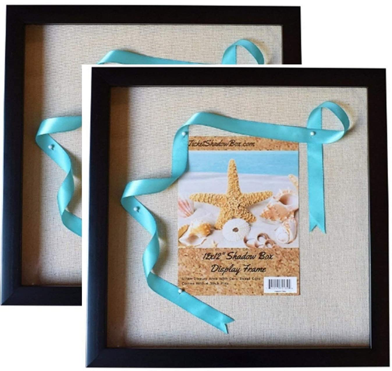 """12x12"""" Display Shadow Box Frame (2-pack) with Linen Background and 16 Stick Pins - Ready To Hang Shadowbox Picture Frame - Easy to Use - Box Display Frame, Baby and Sports Memorabilia Wedding Baby"""