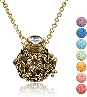 Kayder Vintage Style Essential Oil Diffuser Filigree Locket Aromatherapy Pendant Necklace with Lava Rock Inserts