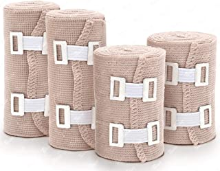 Premium Elastic Bandage Wrap - 4 Rolls + 8 Clips - Athletic Wrap - Bandage Compression Tape Roll Ankle Wrist Leg Elbow Knee Sprains and Strains