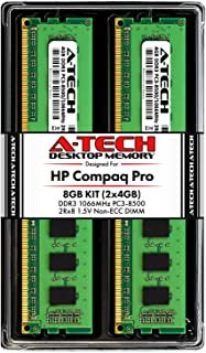 A-Tech 8GB (2 x 4GB) RAM for HP Compaq 4000 Pro & 6000 Pro - (Small Form Factor & Microtower) - DDR3 1066MHz PC3-8500 Non-ECC DIMM Memory Upgrade Kit