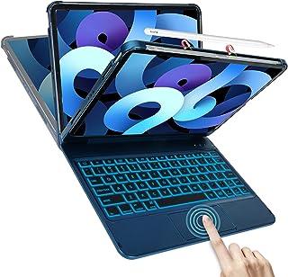 COO iPad Air 4 キーボード ケース 2020モデル [タッチパッド搭載] [一体式iPadキーボード] Bluetooth接続 10色バックライト [Apple Pencil 2代 ワイヤレス充電対応] 180º裏返す操作スタンド...
