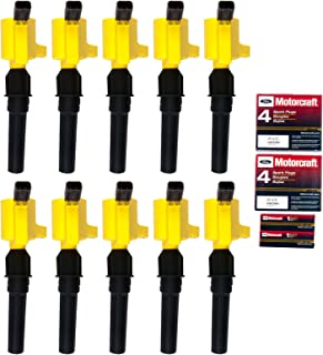 10 Ignition Coil DG508 Yellow & 10 Motorcraft Spark Plug SP479 for Ford 4.6L 5.4L V8 DG457 DG472 DG491 CROWN VICTORIA EXPEDITION F-150 F-250 MUSTANG LINCOLN MERCURY EXPLORER 3W7Z-12029-AA