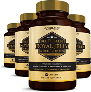 High Potency Royal Jelly Capsules with Bee Pollen & Bee Propolis   Concentrated Natural Superfood with Antioxidant Support   Benefits Weight Loss, Energy & Skin - 4 Bottles, 90 Vegetarian Caps Each