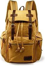 GEARONIC TM Men 21L Vintage Canvas Backpack Leather Laptop School Military