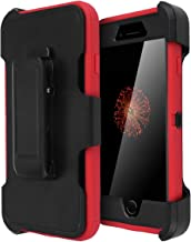 iPhone 8/7 Case, [Heavy Duty] Built-in Screen Protector Tough 3 in1 Rugged Shorkproof Water-Resistance Cover [with Belt Clip] Kickstand for Apple 4.7''iPhone 8/ iPhone 7 (Black/Red)