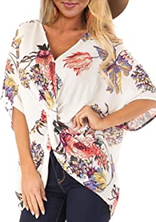 FARYSAYS Women's Floral Print Short Sleeve V Neck Ruched Twist Tops Loose Casual Blouse Shirts