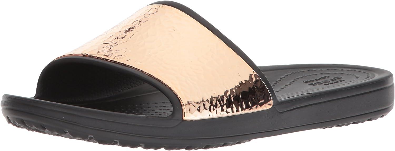 Crocs Womens Sloane Hammered Metallic Slide