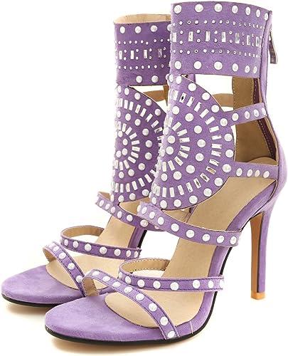 Aa-nvliangxie Chaussures pour femmes de grande taille de l'été 2018 Sac manchon et la mode Sandales,Violet,EU39CN40