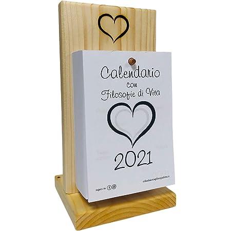 Calendario 2021 con Filosofie di vita - Base in legno con Calendario - Ogni giorno una perla di saggezza