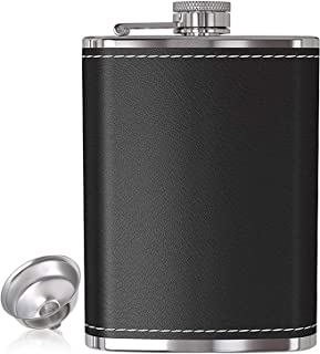 Hip Flask for Liquor and Funnel 8 Oz Leak Proof 304 Stainless Steel Pocket Hip Flask with Black Leather Cover for Discrete...