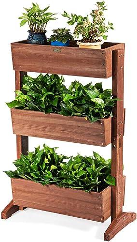 wholesale Giantex online 3 Tier Raised Garden Bed Vertical Freestanding Wooden Flower Rack with Detachable Ladder and outlet sale Adjustable Shelf,Classification Storage Box Shelf for Indoor Outdoor Flower Stand (Nut-brown) online