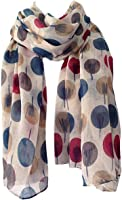 Scarf Beige Ivory Cream Sketch Tree Print, Ladies Wrap Shawl, Sarong Teal Maroon Red