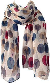 e7183f5d0 Scarf Beige Ivory Cream Sketch Tree Print, Ladies Wrap Shawl, Sarong Teal  Maroon Red