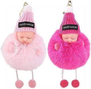 I-BOSOM 2PCS Cute Doll Keychain Pom Pom Car Keyring Holder Car Charm Pendant Bag Charm Key Chain