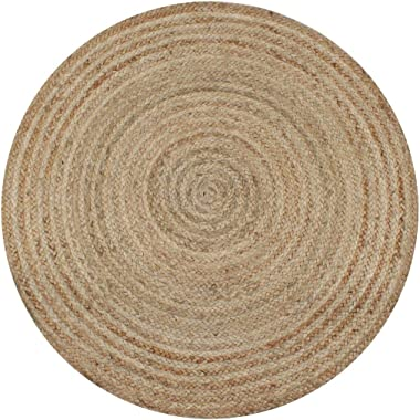 vidaXL Area Rug Strong Resilient Durable Appealing Texture Living Room Home Floor Carpet Mat Sheet Braided Jute 120cm Round