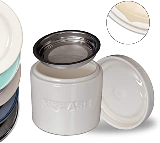 Ceramic Grease Container Keeper with Metal Stainless Steel Strainer and Lip for Easy Pour (Ivory)