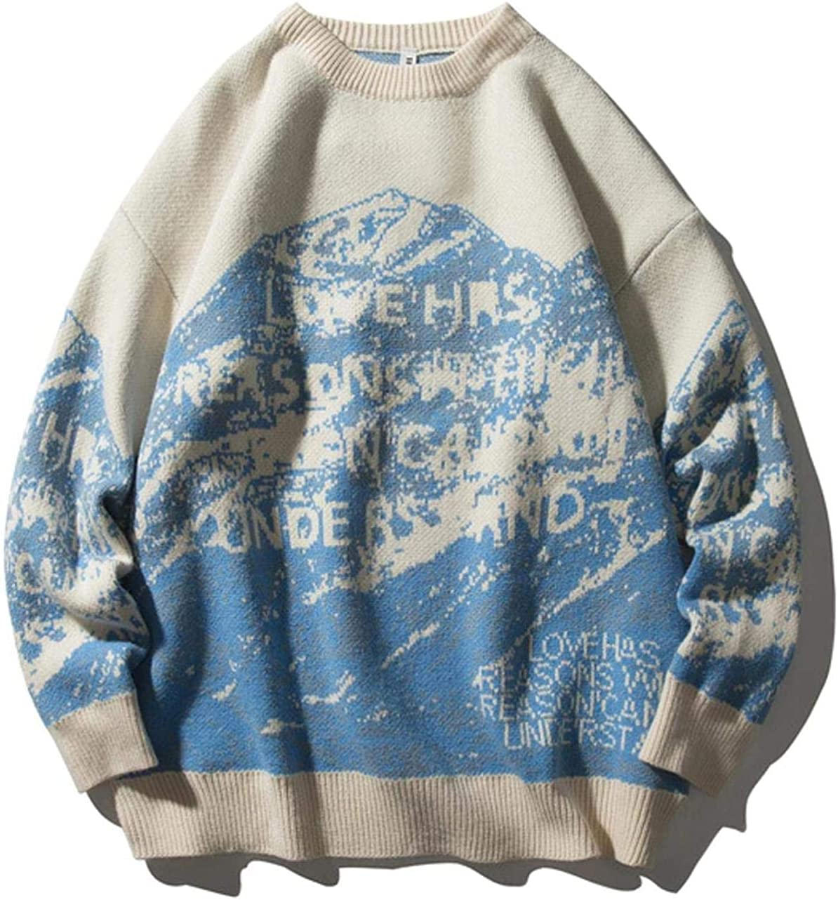 Sweaters Men Snow Mountain Pullover Knitted Sweaters Casual Knitwear Jumper Tops Hip Hop Streetwear