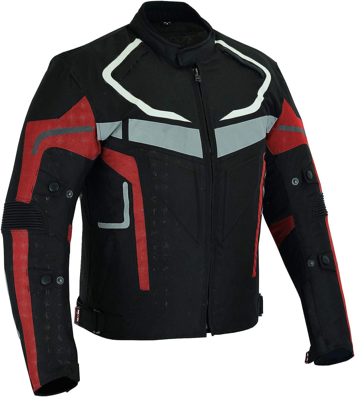 Veste de moto imperm/éable pour homme en tissu Cordura renforc/é 4 couleurs