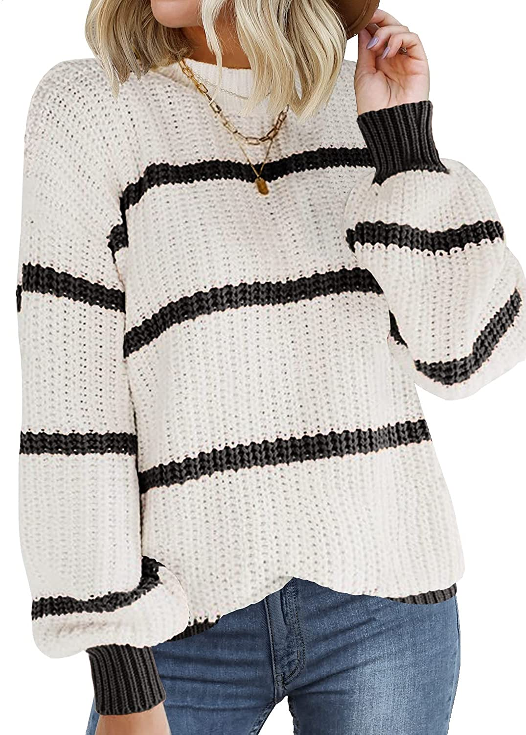 DOROSE Womens Sweater Long Sleeve Striped Color Block Loose Knit Pullover Sweaters Tops
