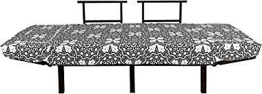 Ambesonne Antique Oriental Futon Couch, Cultural Monochrome Circle and Sharp Ornaments Combined Print, Daybed with Metal Fram