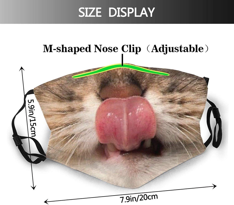 Cat Licks Face Mask Fashion Balaclava,Washable Reusable Bandana Scarf with 2 Filter for Men & Women