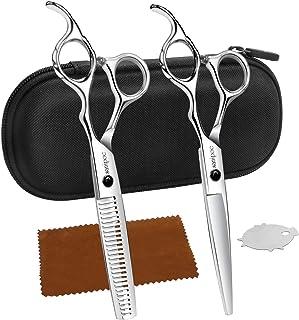 Pekirun 散髪 ヘアカット すきばさみ セット ハサミ セニングシザー 左右 プロ仕様初心者 美容師 理容師 セルフカット カットはさみ ケース付き