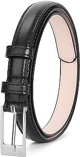 LEACOOLKEY Women Skinny PU Leather Dress Belt for Jeans Pants Silver Buckle