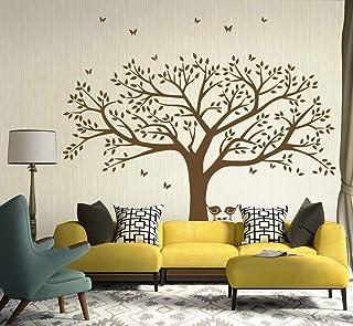 Géant Photo de Famille Arbre Oiseaux Autocollants Muraux pour Enfant Bébé fille Chambre Salon Décor (Marron)