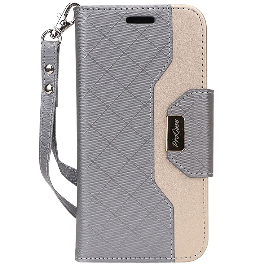 ProCase iPhone Xs/iPhone X Wallet Case, Flip Kickstand Case with Card Slots Mirror Wristlet, Folding Stand Protective Cover for 5.8 inch Apple iPhone Xs (2018) / iPhone X (2017) -Grey