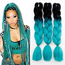 teal braiding hair