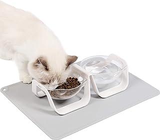 ペットダブルボウル【プレースマット付属】スタンドセット角度調整可能 猫食器 えさ入れ ごはん皿 お水入れ猫食べやすい 猫 犬 (ホワイト)