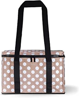 Kate Spade New York Large Capacity Insulated Cooler Bag, Soft Sided Portable Beach Cooler Tote for Women, Jumbo Dot
