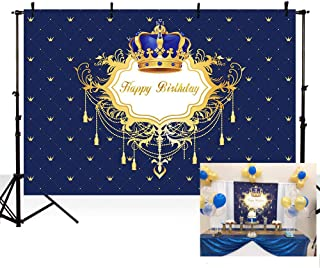 MEHOFOTO Blue and Gold Boy Happy Birthday Photo Background Little Prince Crown Royal Celebration Party Decorations Banner Backdrops for Photography 7x5ft