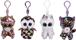 ReBL LLC TY Stuffed Animals Beanie Boo Clips Keychains Plush Toys Bundle Set Plus ONE Bonus Animal Puzzle Eraser (Diamond's Buddies)