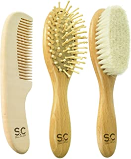 Natural Baby Hair Brush Set of 3 to Prevent Cradle Cap for Newborns and Toddlers. Hair Brushes for Babies: Goat Hair Brush and Wooden Massage Combs. Ogranic Infant Care Gift by Stone&Clark