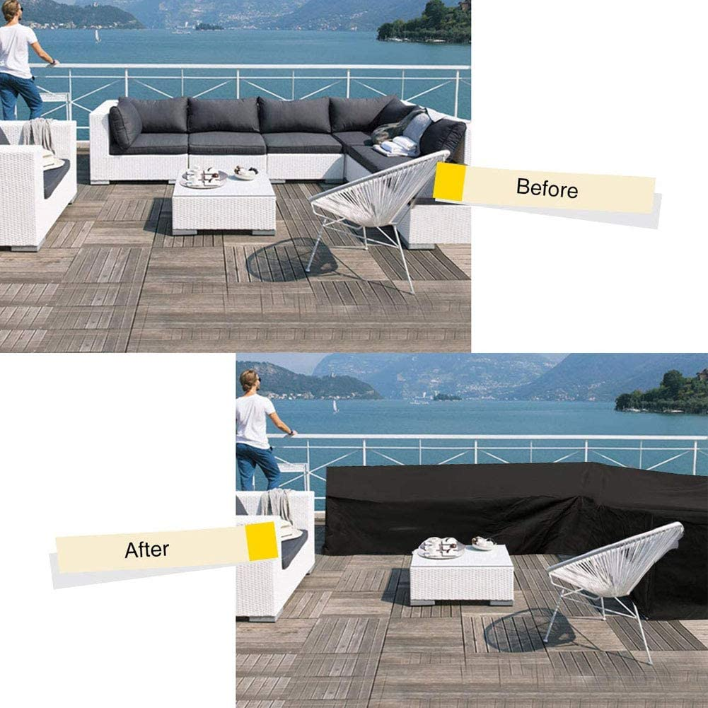 Heavy Duty Outdoor Sectional Furniture Cover Waterproof Garden Couch Cover L-Shaped Sofa Cover Garden Furniture Protector Black,V 215/×215cm L Shaped Patio Sofa Cover