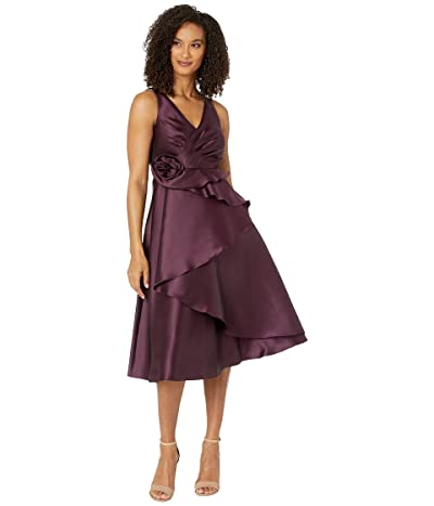 Adrianna Papell Mikado Rosette Cocktail Dress (Pinot Noir) Women