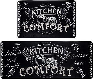 HEBE Anti Fatigue Kitchen Floor Mat Set of 2 Cushioned Heavy Duty Comfort Standing Mats Waterproof Kitchen Rugs Set 2 Piec...