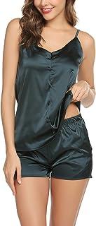 طقم منامات قصيرة من الساتان للنساء مثير قميص مجموعات ملابس داخلية حريرية ملابس نوم