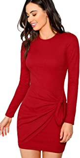 Women's Elegant Long Sleeve Wrap Party Bodycon Short Dress