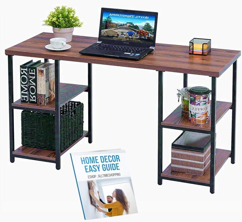 Farmhouse Writers Desk Computer Lamp Office Standing Decor Wood Student Shelf Table Gaming Corner Desktop Keyboard Modern Unit & Ebook by AllTim3Shopping.