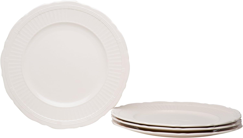 Red Vanilla FE900-401 Tuscan Villa Dinner Plates (Set of 4), 11 , White