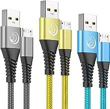 Yosou Lot de 3 Câbles Micro USB en Nylon Tressé de 2m à Charge Rapide pour Android, Long Chargeur Cordon Compatible avec Samsung Galaxy S6 edge S7 S5 J7 J6 J5 J3,LG,PS4 Manette,Huawei Honor 8x Y5/6/7