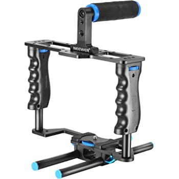 Neewer Aluminum Alloy Camera Video Cage Film Movie Making Kit include:(1)Video Cage(1)Top Handle Grip(2)15mm Rod for DSLR Cameras Such as Canon 5D mark II III 700D 650D Nikon D7200 Pentax Sony Olympus