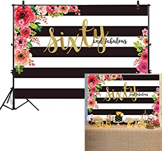 Allenjoy 7x5ft Sixty and Fabulous Backdrops Black White Stripe Pink Paper Floral Banner Happy 60th Birthday Cheer to 60 Years Old Adult Women Prom Retirment Party Decoration Supplies Props Background