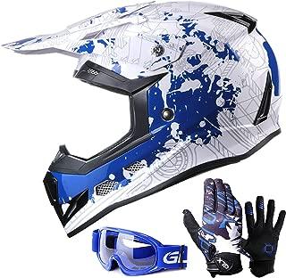 GLX Unisex-Child GX623 Youth Dirt Bike Off-Road Motocross ATV DOT Approved Helmet+Gloves+Goggles (Modern Blue, Small)
