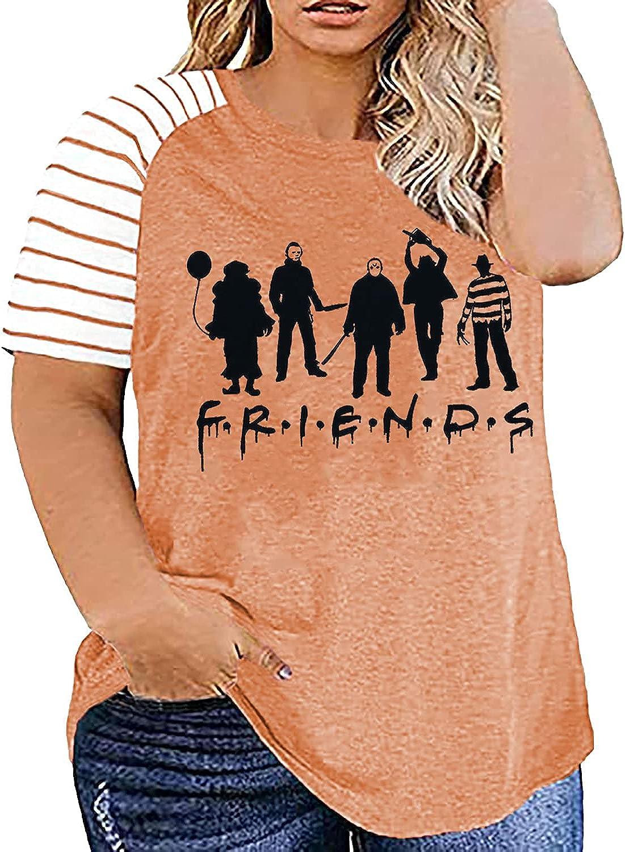 Plus Size Halloween Friends Shirt Women Horror Movies Novelty Graphic Short Sleeve Tee Tops Striped Raglan Tee Shirts