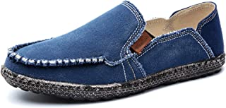 Mens Canvas Shoes Slip on Deck Shoes Casual Cloth Boat...